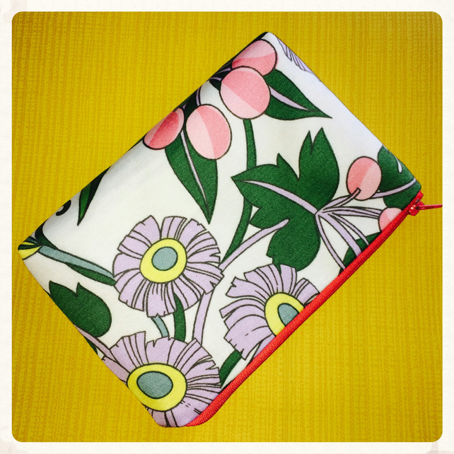 Vintage Fabric Evening Bag, Clutch Bag, Make Up Bag