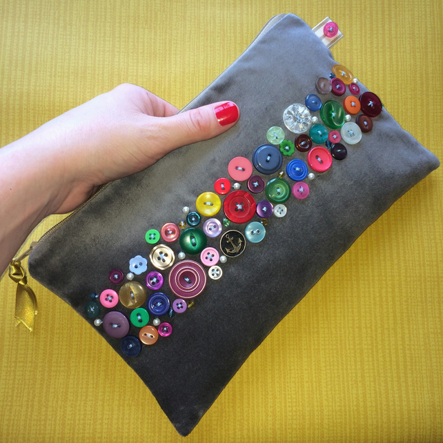 Vintage Button Clutch Bag
