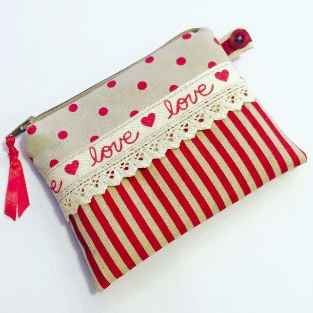 Love and Polka Dot Coin Purse with Lace