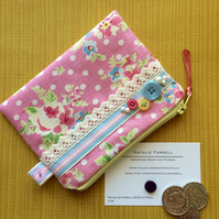 Rose and Polka Dot Coin Purse with Lace
