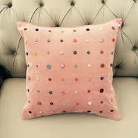 Pink Cushion with Buttons