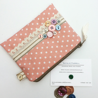 Polka Dot Coin Purse with Lace, Buttons and Ribbon Embellishment