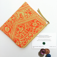 Orange and Coral Print Coin Purse