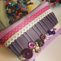 Make Up Bag, Cosmetics Bag, Toiletry Bag with Vintage Buttons, Ribbon and Lace