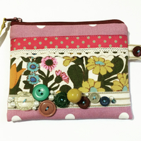 Coin Purse with floral print, vintage buttons, ribbons and lace