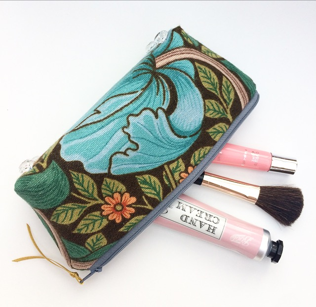 Vintage Sandersons Floral Fabric Makeup Bag, Pencil Case