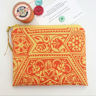 Orange Print Coin Purse