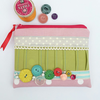 Coin Purse, vintage buttons, ribbons and lace