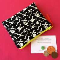 Glow in the dark skull and cross bones Coin Purse