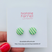 Printed Fabric Button Earrings