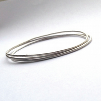 Three Sterling Silver Bangles - Organic Texture