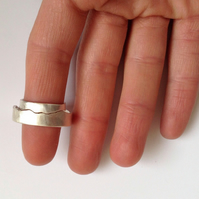 Mountain Rings - Two interlocking rings - Sterling Silver - Eco Friendly