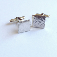 Cufflinks with Hammered Texture - Recycled Sterling Silver