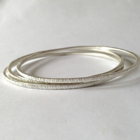 Tree Bark Bangle Set - Three Sterling Silver Bangles - Recycled