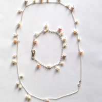 Pearl Gift Set Necklace & Bracelet - Peach - Pink - Grey - Sterling Silver
