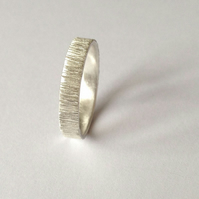 Silver 4mm Wide Ring Tree Bark Texture - Unisex Wedding Band - Recycled Sterling