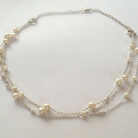 Multiple Pearl Necklace - Three Strand Pearl Chain - White Freshwater Pearls