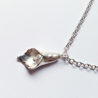 Calla Lily Pearl Necklace handmade in Pure Silver with a Sterling Silver Chain