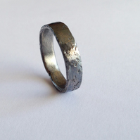Oxidised Silver Ring - Distressed Texture Wedding Band - Sterling - Eco Friendly