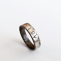 Love Ring - Oxidised Silver Ring - Name - Personalised