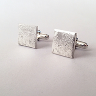 Cufflinks with Distressed Texture - Recycled Sterling Silver - Gift for him