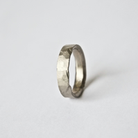 White Gold Wedding Ring with Rustic Texture