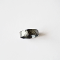 Oxidised Silver Ring - Hammered Texture Wedding Band - Sterling - Eco Friendly