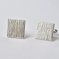 Cufflinks with Hammered Tree Bark Texture - Recycled Sterling Silver
