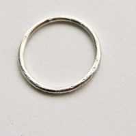 Silver Halo Thin Ring - Organic Texture Wedding Band - Sterling - Eco Friendly