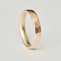 Gold Hammered Ring - 9 Carat Wedding Band - UK Hallmarked