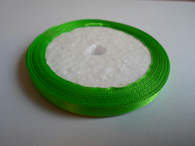 1 roll of 6mm Leaf green satin ribbon minimum 13 metres, wedding favours,