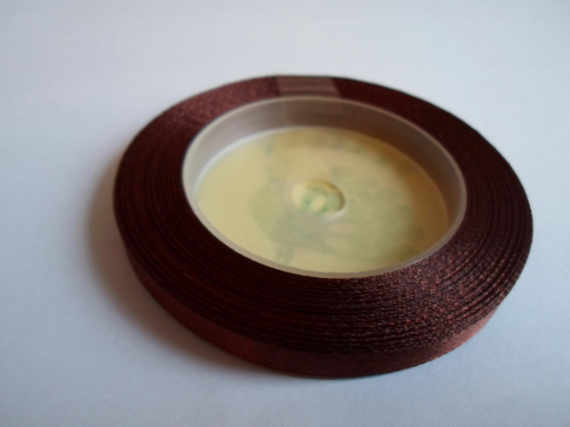 1 roll of 6mm Chestnut, dark brown satin ribbon minimum 13 metres, wedding