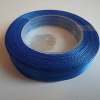 1 roll of 12mm Cobalt Royal blue satin ribbon minimum 13 metres, wedding