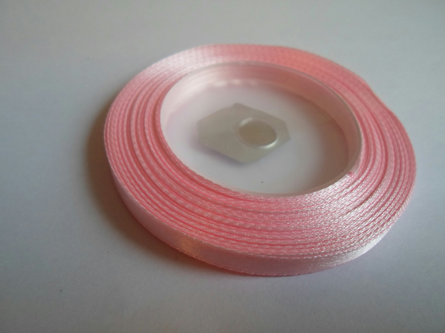 1 roll of 6mm Light baby pink satin ribbon minimum 13 metres, wedding favours,