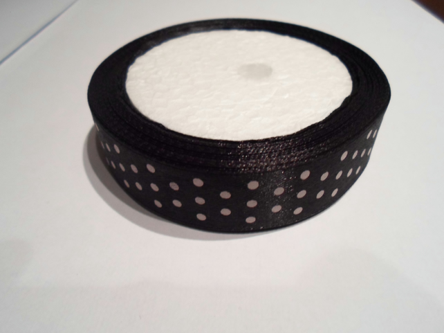 1 roll of 20mm Black with White polka dot satin ribbon minimum 13 metres