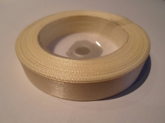 1 roll of 12mm Ivory satin ribbon minimum 13 metres, wedding favours,
