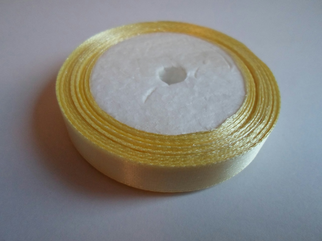 1 roll of 12mm Lemon yellow satin ribbon minimum 13 metres, wedding favours,