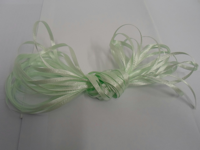 1 roll of 3mm Light Mint green satin ribbon minimum 10 metres, wedding favours