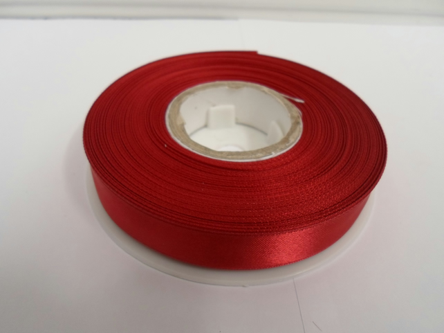 1 roll of 15mm x 25 metres, Red satin ribbon, double sided