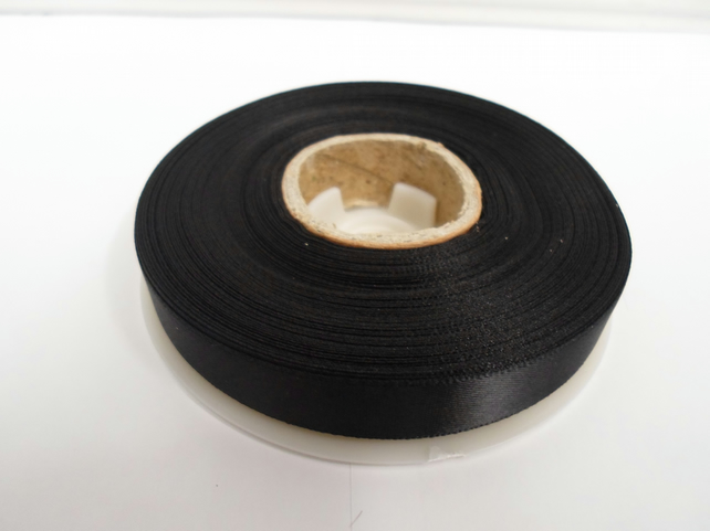 1 roll of 15mm x 25 metres, Black satin ribbon, double sided