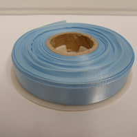 1 roll of 15mm x 25 metres, light baby blue satin ribbon, double sided