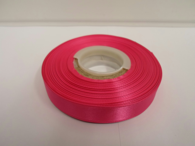 1 roll of 15mm x 25 metres, bright hot pink satin ribbon, double sided