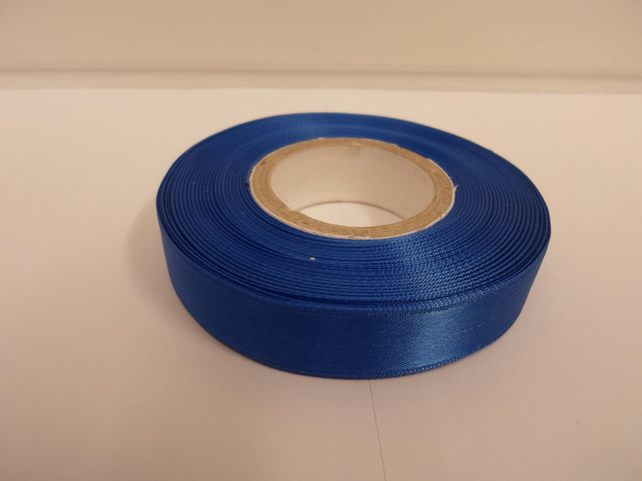 1 roll of 15mm x 25 metres, Royal Cobalt Blue satin ribbon, double sided