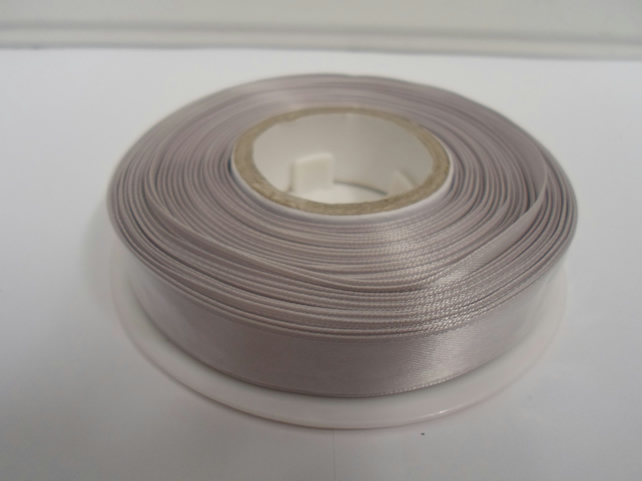 1 roll of 15mm x 25 metres, Silver satin ribbon, double sided