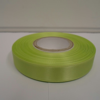 1 roll of 15mm x 25 metres, Apple, light green satin ribbon, double sided