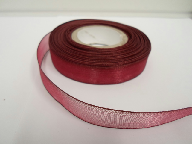 1 roll of 15mm Burgundy Sheer Organza ribbon, 25 metres, double sided