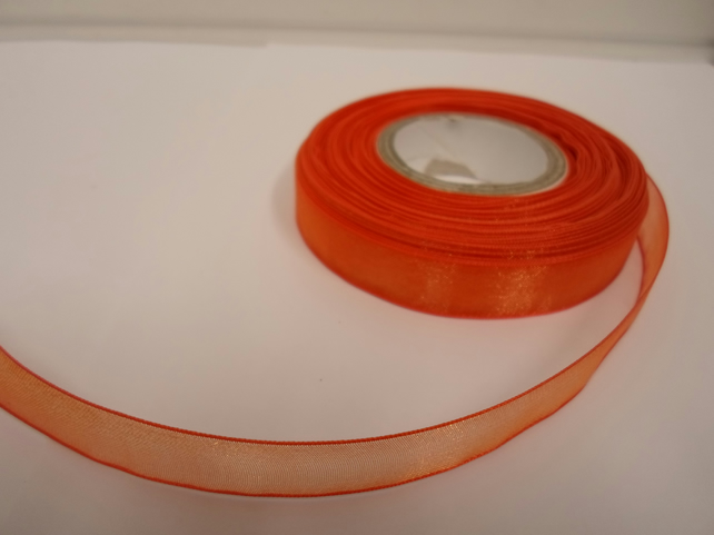 1 roll of 15mm Dark Orange, Sheer Organza ribbon, 25 metres, double sided