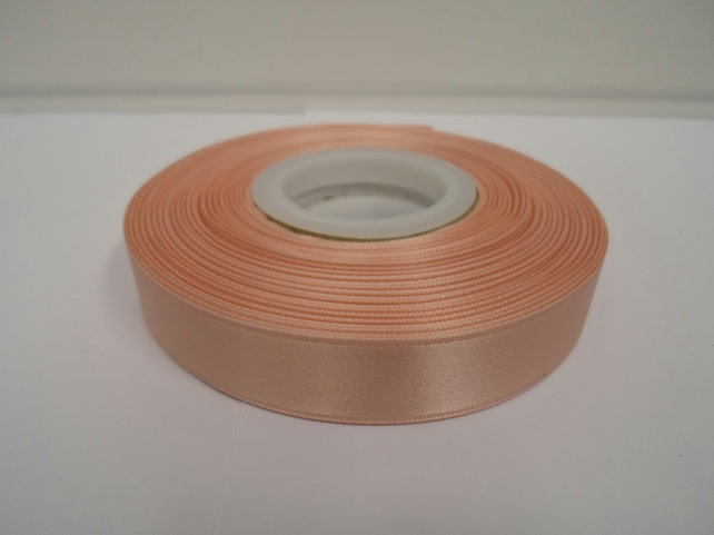 1 roll of 15mm x 25 metres, Peach, light orange, satin ribbon, double sided