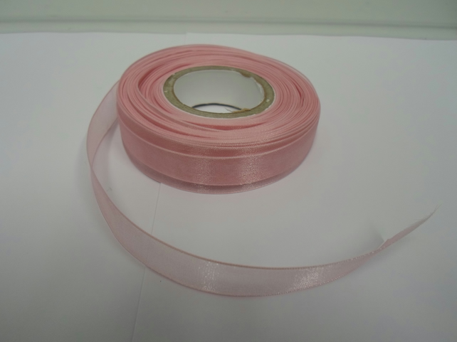 1 roll of 15mm light baby pink, Sheer Organza ribbon, 25 metres, double sided