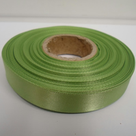 1 roll of 15mm x 25 metres, Sage, light green, satin ribbon, double sided